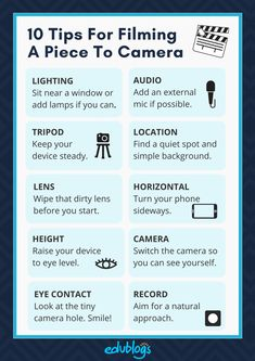 10 Tips For Filming A Piece To Camera | Video tips from Edublogs | The Edublogger