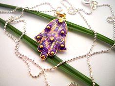 Gold Hamsa necklace silver Hamsa necklace Purple by hilawelner, $35.00