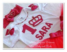 Conjunto: Saia tutu, body ou camiseta bordado em pérola e strass na cor pink…