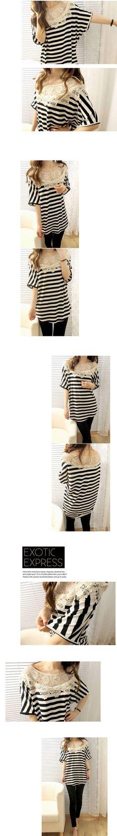 #Udobuy  Lace Stitching Bat Sleeve Stripe T-shirt$28