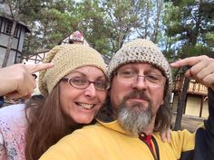 Hats crocheted by Gayle for Alvon & Amy at Louisiana Renaissance Festival from Gulf Coast yarn by Wool of Louisiana.