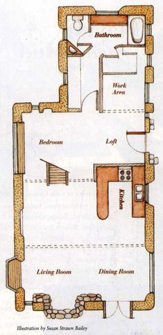 interior layout of my Gary Zuker's Texas home (cob layout that works well in modern life) - This is great!
