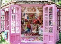 Pink summer house shed