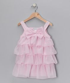 This Pink Bow Chiffon Ruffle Dress - Infant & Toddler by Fantaisie Kids is perfect! #zulilyfinds $19.99