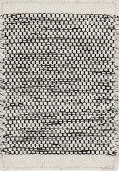 Black and white hand-woven wool carpet from Danish Linie Design. Even being black & white this carpet is not too graphic so it is not too dominant and does not limit too much the choice of your home accessories. Tapis Design, Textile Design, Textiles, Textile Texture, Natural Rug, Line Design, Rugs In Living Room, Living Spaces, Floor Rugs