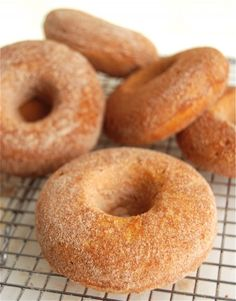 Pumpkin Doughnuts: BAKED to perfection | King Arthur Flour – Baking Banter (note: I subbed 1/4 c whey protein powder for 1/4 c of the flour, and they were awesome. May try upping it next time. Works great with mini muffin pans @ 12 minutes. So good!) Where can I get a donut pan?!
