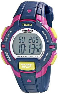 Now in stock Timex Women's T5K813 Ironman Rugged 30 Mid-Size Blue/Pink Color Block Resin Strap Watch