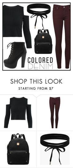 """""""colored denim"""" by buflie ❤ liked on Polyvore featuring Paige Denim and Boohoo"""