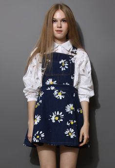 Navy Blue Daisy Floral Print Denim Dungaree Dress US$33.00