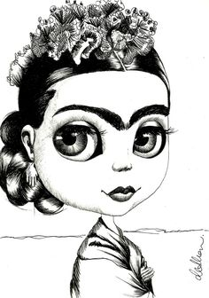 frida khalo coloring pages | KNOWS HOW TO ROCK THAT EYEBROW SITUATION)