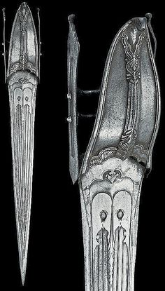 Indian (Mughal) katar, 18th century,  long, thin blade of triangular section with six grooves and engraved, chiselled base; typical, iron hilt with grooved crossbars, the transversal ones with a sphere at the centre; the knuckle guard, ribbed at the centre, engraved with floral and geometrical motifs.