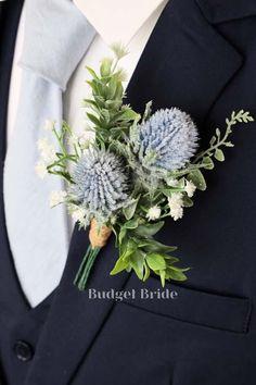 Budget Wedding Flowers, Wedding Ceremony Flowers, Winter Wedding Flowers, November Wedding Flowers, Rustic Boutonniere, Thistle Boutonniere, Thistle Bouquet, Blue Boutonniere, Wedding Boutonniere