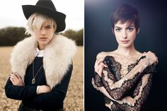 I just love Anne Hathaway with her pixie cut and Aggy Deyn was my original inspiration for the platinum blonde 'do!