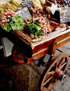 For the cocktail hour, we will have an antique market cart on display filled with baskets of fresh local produce, cheeses, and potted flowers