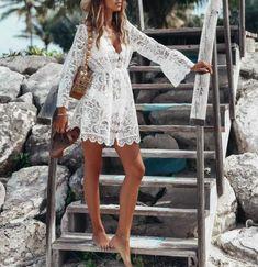 Fleepmart 2020 New Summer Women Bikini Cover Up Floral Lace Hollow Crochet Swimsuit Cover-Ups Bathing Suit Beachwear Tunic Beach Dress Hot Bikini Cover Up, Swimsuit Cover Ups, V Neck Dress, Lace Dress, Dress Skirt, White Dress, Ladies Day Dresses, Trend Fashion, 50 Fashion