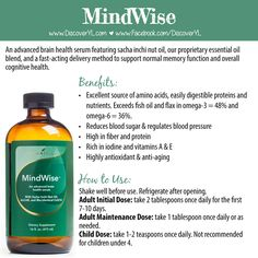 ADHD ~ Mindwise 16 oz bottle, $59.75. Each bottle has about 48 - 2 tsp child-sized dosages.  **If you sign-up with Young Living, please say Trisha Wieber ID#1823919 referred you.**