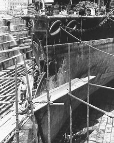 The HMS Camperdown in drydock, showing collision damage. (The Camperdown herself nearly sank from the collision.)