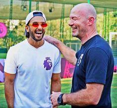 "When Ranveer Singh Met ""Footballing Royalty"" Alan Shearer - Viaab Alan Shearer, Ranveer Singh, Sports News, Premier League, Bollywood, Polo Ralph Lauren, Mens Sunglasses, In This Moment, Mens Tops"