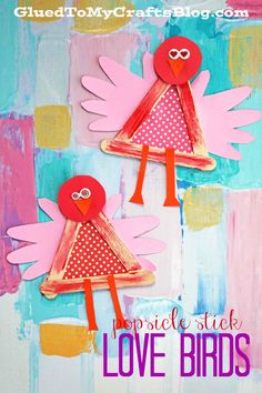 Popsicle Stick Love Birds - Kid Craft