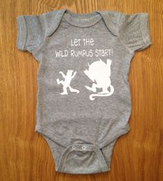 A fun one piece full of wild rumpus influenced by Where the Wild Things Are and perfect for the wild thing in your life! (White vinyl) on Etsy, $12.99