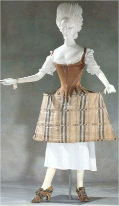 """c1775 stays: English, cotton and 162 pieces of whalebone, back lacing with center front sewn together. 
