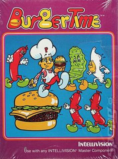 Burger Time by Data East - the Intellivision version was a classic, with wonderful box art Vintage Video Games, Retro Video Games, Vintage Games, Vintage Toys, Retro Games, Vintage Stuff, 1980s Childhood, Childhood Memories, Playstation