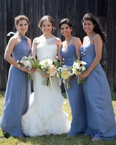 These girls wore chiffon Amsale gowns in the style of their choosing