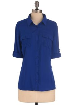 Royal Sweet-ment Top - Long, Blue, Solid, Buttons, Menswear Inspired, Long Sleeve, Pockets