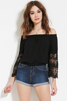 Lace-Paneled Top | Forever 21 - 2000186459