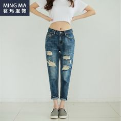 Summer Style New White Jeans Torn Boyfriend For WomenS Shorts Ladies Ripped Jeans Trousers Denim Pants Dungarees Feminino Holes