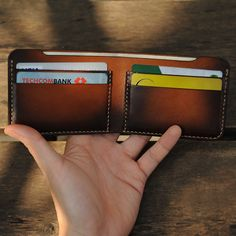 Patina Brown Leather Wallet, Minimalist Wallet, Thin Leather Wallet, Front Pocket Wallet, Personalized Wallet, Handmade Mens Wallet Minimal Wallet, Minimalist Leather Wallet, Brown Leather Wallet, Handmade Leather Wallet, Leather Duffle Bag, Duffle Bags, Sewing Leather, Men's Leather, Best Boyfriend Gifts