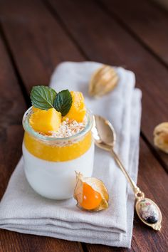 Exotic coconut panna cotta with mango coulis