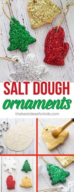 These salt dough ornaments are so fun to make and would make a great gift! Kids will love helping to make these ornaments as a craft. #diy #christmas #christmasideas #diyideas #saltdough #ornaments via @bestideaskids