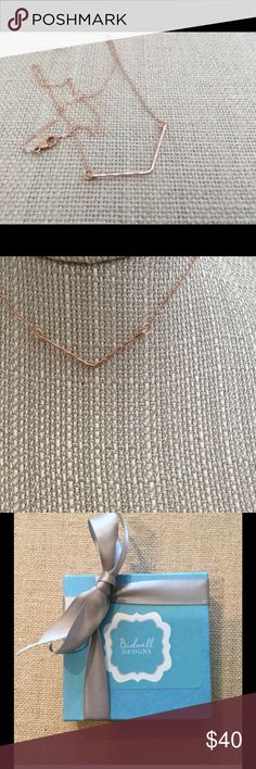 """Rose gold geometric line necklace. V necklace. An easy to wear geometric v line adorns the 15.5"""" rose gold chain. The line measures 1.5"""".  is a perfect necklace to layer with others.    This necklace is also available with other chain lengths. Please specify your preference including length in the comments section. Bidwell Designs Jewelry Necklaces"""