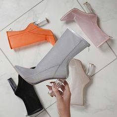 Women Ankle Mesh Boots Pointed Toe Women Back Zipper Crystal Chunky High Heels Transparent Booties for Christmas Gift Boots For Short Women, Short Boots, Talons Oranges, Cute Shoes, Me Too Shoes, Heeled Boots, Bootie Boots, Ankle Boots, Chunky High Heels