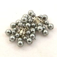 Vintage 1950s Gray Bead Earrings Faux Pearl Clip On by Revvie1, $8.00