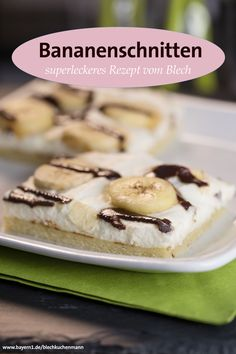 Bananenschnitten backen - ganz leicht mir diesem Blechkuchen Rezept!