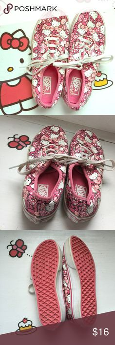 Hello Kitty lace up VANS Super cute in good used condition. A new pair of laces would help make these shoes close to new! YOUTH size 2 Vans Shoes Sneakers