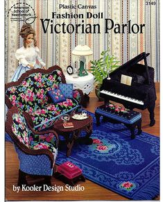 Fashion Doll Victorian Parlor Plastic Canvas by grammysyarngarden, $24.00