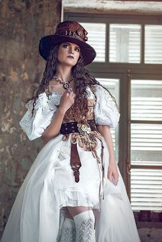 Steampunk Bride in Wedding Dress (more steampunk bridal party ideas) - For…