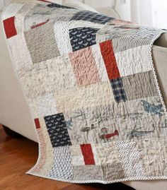 """This is the perfect quilt technique for the lazy quilter! No measuring is needed. Just gather your fabrics, start cutting and placing at random, then stitch them together."""