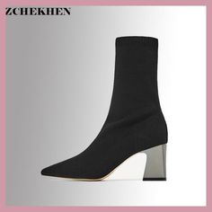 Fashion Kardashian Ankle Elastic Sock Boots Chunky High Heels Stretch Women Sexy Booties Pointed Toe Women Pumps Botas #18