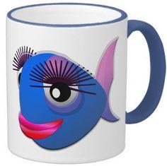 #Fish mug 11 oz Ringer Mug blue Sold by #Zazzle http://www.zazzle.com/your_fish_mug_11_oz_ringer_mug_blue-168487816880788008