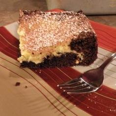 Gooey Butter Cake - definitely use a yellow cake mix, and spread a bag of chocolate chips between layers.  Cook the full 45 minutes, and OH MY GOODNESS!  My most popular dessert so far!! :-)