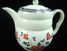 Vintage Hall China Red Poppy Tea Pot Coffee Pot w/ Lid
