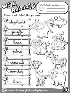 printable connect wild animals name worksheet for kids  african  wild animals  worksheet  bw version