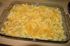 """Creamy Chicken Noodle Bake. Cook and assemble into two 8""""x8"""" pans. Don't bake. Freeze. Thaw and Bake when desired."""