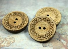 Wooden Buttons - 6 pieces of Antiqued Yellowing Floral Circles Carving Coconut Buttons, 1.10  inch