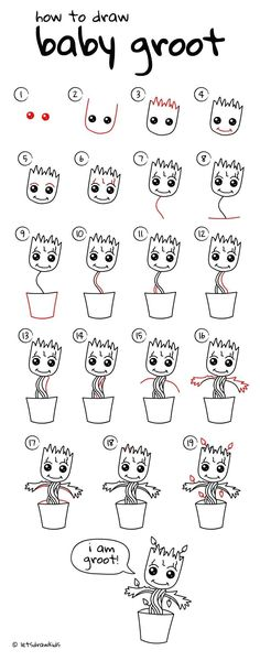 drawings - how to draw Baby Groot. Simple drawing, step by step Drafting drawings - how to draw Baby Groot. Simple drawing, step by step -Drafting drawings - how to draw Baby Groot. Simple drawing, step by step - Easy Drawing Steps, Step By Step Drawing, Drawing Tips, Drawing Sketches, Drawing Art, Drawing Tutorials, Step By Step Sketches, Sketching, Drawing Animals