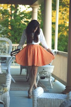 Classy Girls Wear Pearls: Peach, Porch and Pick Up {I love the buttons on the skirt plus the button down}